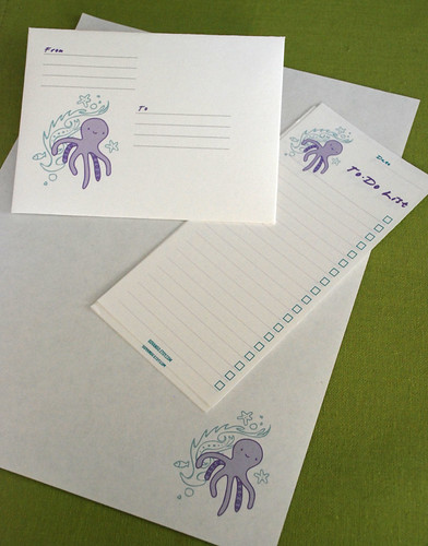 Printable Funky Octopus Stationery