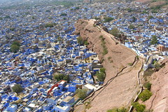 The Blue city of Jhodpur (Jeremiah Cunningham) Tags: city travel blue night shimla asia desert fort dunes safari camel backpacking adobe varanasi calcutta rajasthan jodphur ganj dharmasala mcleoud jalsamier