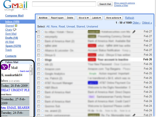 Yahoo mail in GMail 2