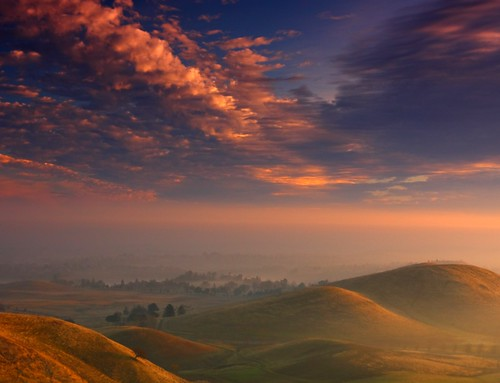 clouds and hills at sunrise