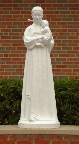 Statue of the Blessed Virgin Mary and Infant Jesus at Saint Andrew Kim Korean Catholic Church, in University City, Missouri, USA