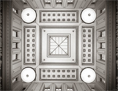 Ceiling, Manchester Art Gallery (JeremyRambles) Tags: england building stone architecture manchester interior symmetrical turner 1825 gainsborough architecturalphotography doriccolumns greekstyle manchestercityartgallery sircharlesbarry aplusphoto preraphaelitepaintings unusualviewsperspectives jp2009 themanchesterartgallery rooflitentrancehall