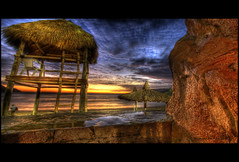 Inside a showerstall.....(not kidding!) (Jerimias Quadil) Tags: blue sunset sky beach clouds reflections mexico gorgeous explore yup karma mazatlan hdr showerstall jq strawhut sigma1020mmf456exdchsm elcidhotel twtme jerimiasquadil gettinglazy promastercircularpolarizing lifeguardsviewnotfeelingsorryforthebastard almostmissedshot hardlynoprocessing 653809onexplore