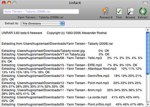 Captura de UnRarX descomprimiendo un disco