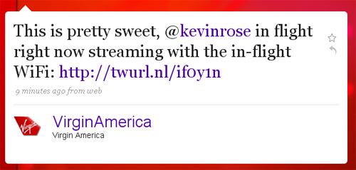 kevin rose ustream virgin america