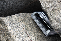 A tape player embedded in a rock