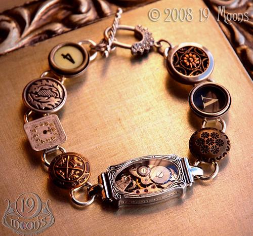 DEJA VU Antique Button Watch Typewriter Key Steampunk Bracelet by 19 Moons