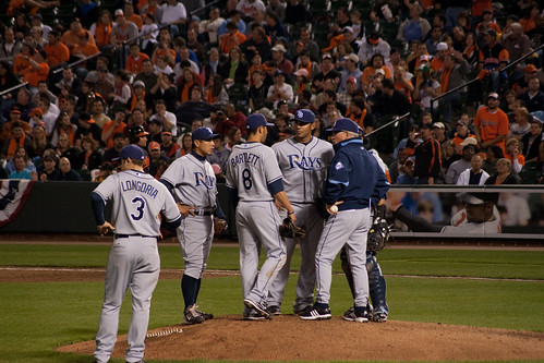 Infield meeting to slow down the Os. Longoria doesnt pay much attention, but Aki, Bartlett, Navarro, and Peña do.