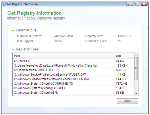 Quicksys RegDefrag - Registry Information