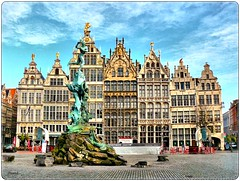 Grote markt-Grand Place Antwerp (jackfre2 (on a trip-voyage-reis-reise)) Tags: sky fountain beautiful statue clouds square ancient terraces piazza brabo renaissance hdr antwerpen mechelen cafes anvers gabledhouses colourartaward cobllestones guidhouses