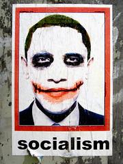 Socialism (~db~) Tags: california red usa white streetart black pasteup art sign poster la us losangeles unitedstates propaganda wheatpaste paste wheat president political politics socal batman joker socialist publicart lipstick sfv obama sanfernandovalley cahuenga socialism prez laist 101fujidscf2842