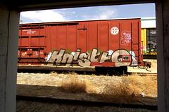 Inside Out (TRUE 2 DEATH) Tags: california railroad streetart art train graffiti framed tag graf trains doorway railcar boxcar railways railfan freight bnsf freighttrain knistt benching freighttraingraffiti knistto