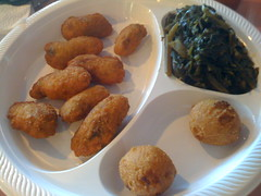 Catfish Alley in Las Vegas - Fried oyster, collar greens, hush puppies