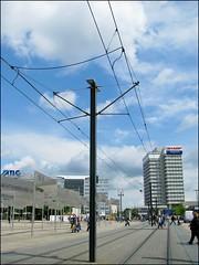 Berlino (: panti :) Tags: berlin germany strada nuvole colore via cielo palazzo palo colori germania fili palazzi binari berlino binario filitram