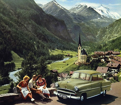 Heiligenblut and Grossglockner (Martin van Duijn) Tags: auto old mountains alps classic church car vintage austria photo automobile 1954 krnten voiture calender olympia oldtimer collectible publicity opel rekord grossglockner wagen heiligenblut