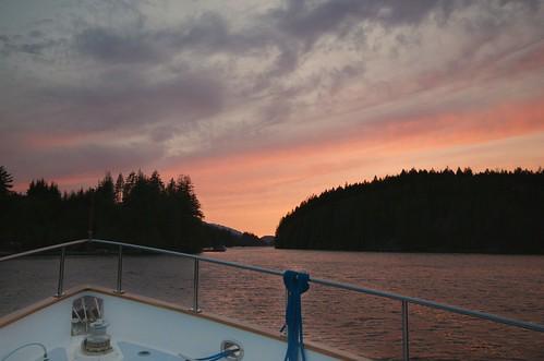 sunset canada bc britishcolumbia quadraisland granitebay nordhavn46 anchoringout