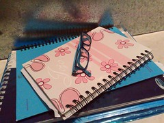Time to study ~ (Jojo xx) Tags: pink blue school flower notebook glasses book study exam quiz