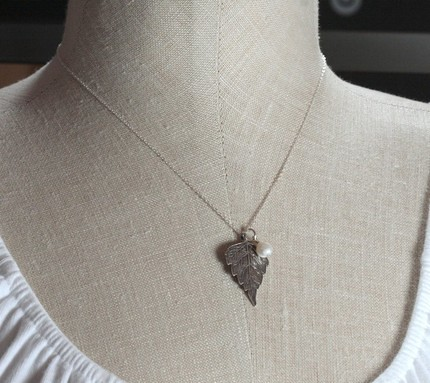 Hanging Leaf Necklace - Sterling Silver Leaf Pendant and Pearl Bead on Sterling Silver Chain