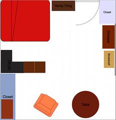 Rozplanowanie mebli w pokoju i wory na ścianach od wałka