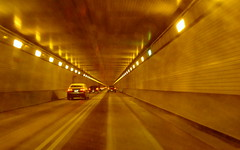 TUNNEL AHEAD - Stay in your own lane - NO PASSING!  LIGHT is at the end of the tunnel!!! (Clara Hinton) Tags: light golden interesting pittsburgh explore squirrelhilltunnel nopassing lightattheendofatunnel picturefantastic clarahinton tunnelahead