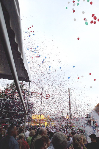 The part with the confetti and balloons