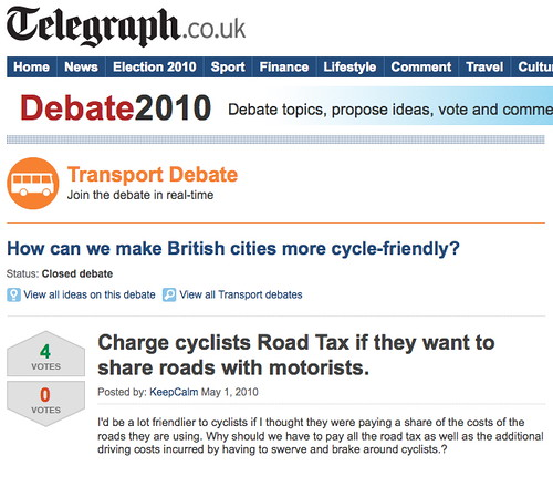 'Charge cyclists road tax if they want to share roads with motorists'