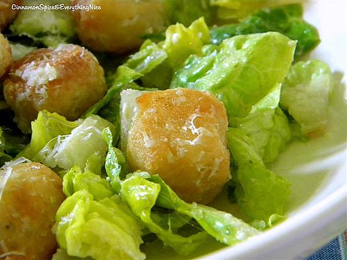 Crusty Pizza Dough Croutons & Caesar Salad