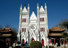 xishiku cathedral (Xuan Che) Tags: 2005 china city blue sky white church architecture spring european catholic cathedral capital gothic colonial beijing christian tradition february canonixus400 jesuits xisi xishiku