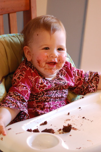Mira, happy about cake