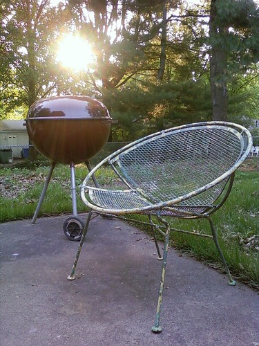 "The Weber kettle and Salterini ""Pod"" lounge chair"