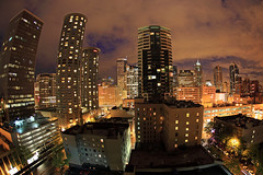 In the Heart of the Skyline (Ian Sane) Tags: life seattle city urban color skyline canon lens ian eos lights washington long exposure downtown heart mark fisheye ii 5d middle sane the in of