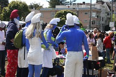 Smurfing Smurfs (jwelcher) Tags: sf sanfrancisco race justice costume running bayarea heroes superheroes justiceleague baytobreakers 2011 baytobreakers2011