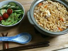 6/13晩御飯:味噌煮込みうどん、サラダ