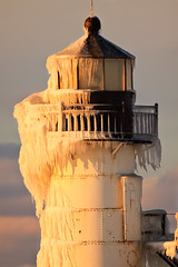 Winter Beard (1000th photo!!!) (jrobfoto.com) Tags: light sea lighthouse house snow ice evening pier flickr dusk michigan clay icicle catwalk josephs willard sait jonathanrobsonphotographycom viapixelpipe saitjosephs