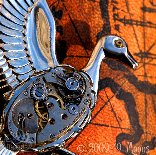 CLOCKWORK GOOSE Vintage Watch Collage Brooch Pin