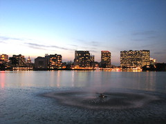 Downtown Oakland Skyline and Fountain