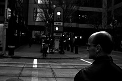 7th ave (Chris Beauchamp) Tags: street white man black calgary photography bald copyrightchrisbeauchamp20072009
