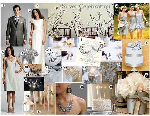 Wedding Inspiration Board Silver Gray White Winter