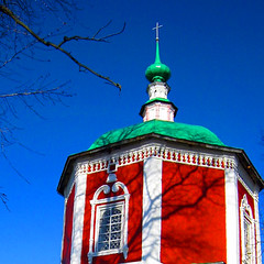 Red church and blue sky (JannaPham) Tags: blue autumn sky church canon golden russia moscow ring suzdal hbm project365 44365 happybluemonday jannapham