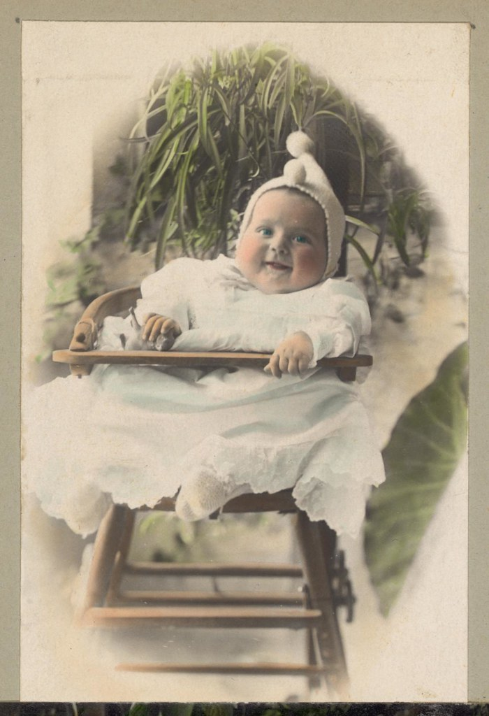 Happy Infant in a High Chair, Vintage Baby Portrait