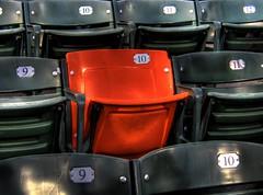 Orange Seat (hburrussiii) Tags: park yards red orange home canon major is hit md baseball stadium camden seat maryland run jr baltimore os powershot cal american record hr ernie 86 section hdr orioles banks ballpark league mlb roygbiv s5 ripken oriole 278th 3xp photomatix