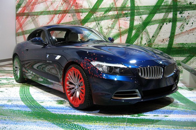 auto show new york blue art paint international bmw z4 2009 coupe nyias