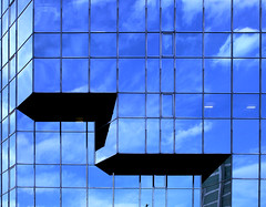 Go THAT way (Andrea Kennard) Tags: blue windows sky reflection building london glass metal clouds office