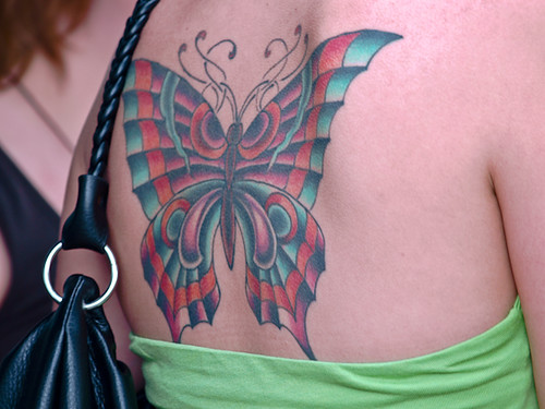 back body big butterfly tattoo art for girl