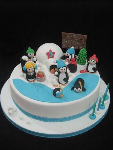 Торт с пингвинами фото