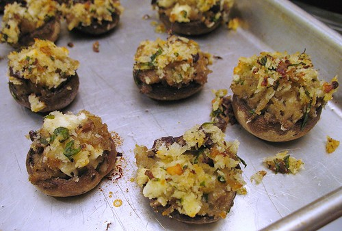 stuffed mushrooms with breadcrumbs, lovage, feta cheese