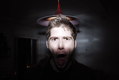 le trange chandelier (Il Naso precario) Tags: portrait bigmouth room flash buh alien attack ufo chandelier alcool scream carlo scared padova carletto drunkart toomuchlight muytardeenlanoche