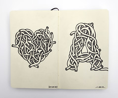 Moleskine 2 (Andy Gosling) Tags: art moleskine sketch heart character pipes tube tubes pipe twist sketchbook doodle letter artery doodles weave arteries interlace aorta uniball signo intertwine andygosling essexartists