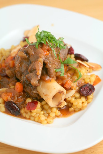Braised Lamb Shanks and Saffron Pearl Couscous with Cranberries and ...