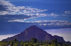 Looming Mount (jimhankey) Tags: blue trees summer arizona cactus sky cloud brown sun mountain mountains tree green phoenix weather yellow clouds sunrise landscape desert cloudy scenic naturallight bluesky valley vista moonlight 2009 beautifulclouds camelbackmountain beautifulview desertview phoenixarizona beautifulscenery blueandgreen phoenixaz scenicview desertmountain maricopacounty blueandbrown nikond200 camelbackcorridor dearflickrfriend uptownphoenix jimhankey arizonasummer arizonaweather phoenixweather phoenixariz azwfavorite2009
